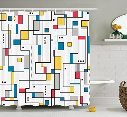 Ambesonne Abstract Home Decor Collection, Abstract Pattern Geometric Minimalist Modern Contemporary Art Image, Polyester Fabric Bathroom Shower Curtain Set with Hooks, Teal Yellow White (Contemporary Modern Curtain)