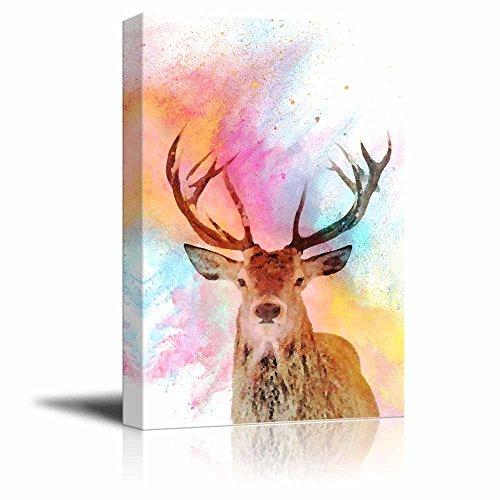 Animal Theme A Deer on Watercolor Style Background Stretched