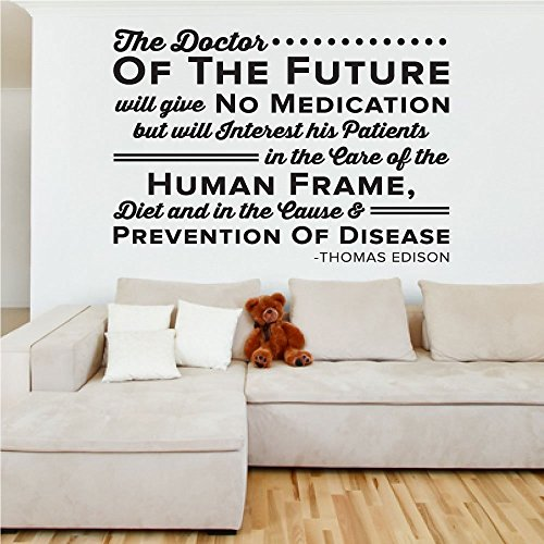 The Doctor of the Future - Thomas Edison - Chiropractor Wall Decal - 0138, Fitness Room Decor, Wall Art, Decal