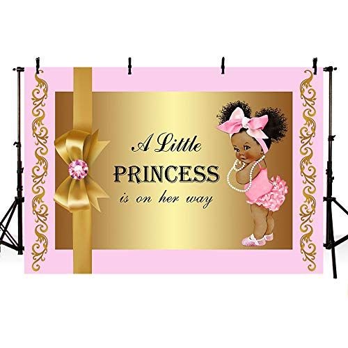 Babies Wallpaper - MEHOFOTO Cute Girl Baby Shower Pink and Gold Photo Studio Booth Background Bow Tie Little Princess Backdrops Banner for Photography 7x5ft