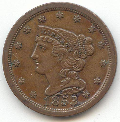 1853 Braided Hair Half Cent Choice About Uncirculated