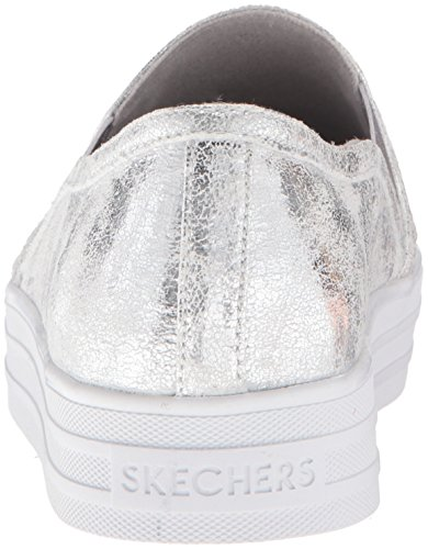 Silver Double Shiny Dancer Skechers Infilare Sneaker Argento up Donna 4Ow8TZ