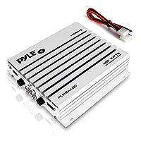 Amplificador marino Pyle Hydra - Amplificador de audio de 4 canales de 4 vatios Elite serie mejorado - Resistente al agua, Fuente de alimentación MOSFET doble, Controles de nivel de GANANCIA, Entrada estéreo RCA e indicador LED (PLMRA400)