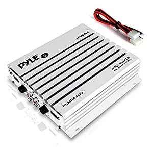 Pyle Hydra Marine Amplifier – Upgraded Elite Series 400 Watt 4 Channel Audio Amplifier – Waterproof, Dual MOSFET Power Supply, GAIN Level Controls, RCA Stereo Input & LED Indicator (PLMRA400)