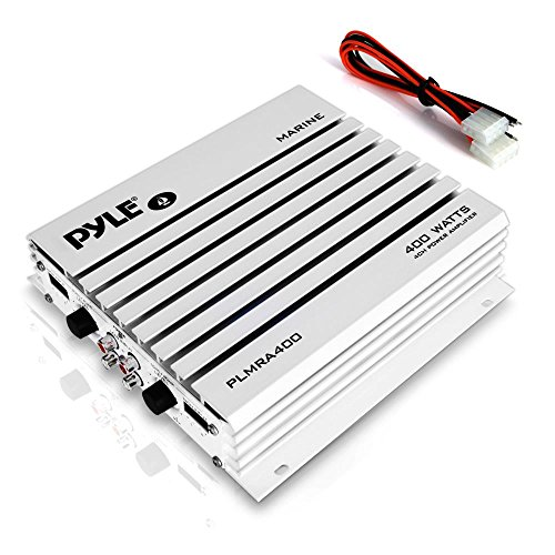 Pyle Hydra Marine Amplifier - Upgraded Elite Series 400 Watt 4 Channel Audio Amplifier - Waterproof, Dual MOSFET Power Supply, GAIN Level Controls, RCA Stereo Input & LED Indicator (PLMRA400) -