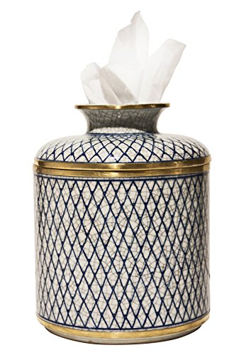 ''CHIANG MAI'' PORCELAIN TISSUE DISPENSER - TISSUE HOLDER - TISSUE COVER by KensingtonRow Home Collection