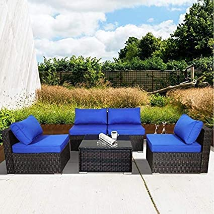 Patio Sofa 5 Piece Brown Pe Rattan Couch Outdoor Garden Furniture With Royal Blue Cushion Garden Outdoor