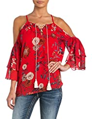Miss Me Womens Hooked On You Open Shoulder Top - Mmt0055l