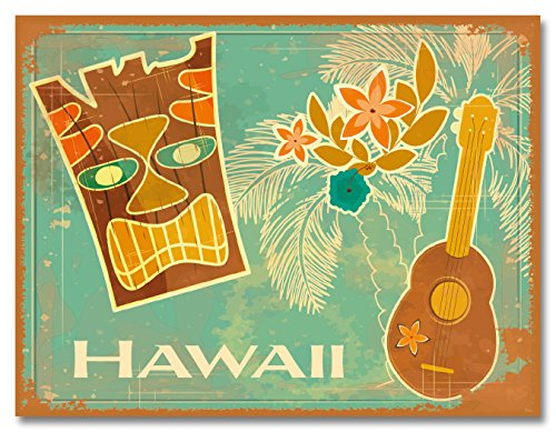 Glitter Embellished Hawaiian Art Collectible Magnet  Vintage Tiki amp Ukulele by Tatyana Scherbanova