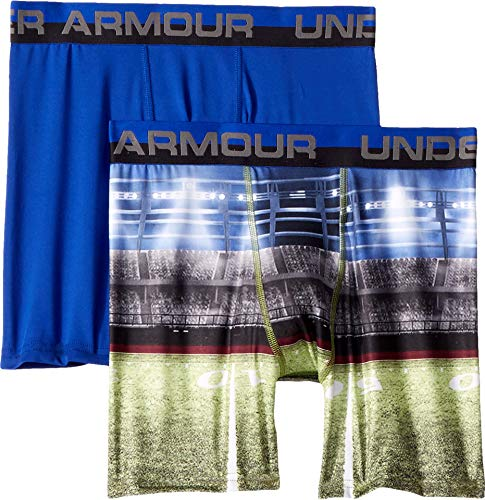 Under Armour Boys' Big' 2 Pack Performance Boxer Briefs, Football Field/Royal, ()