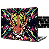 Dongke Unique Design Crystal Hard Case for 13 inch MacBook Pro with/without Touch Bar Model:A1706/A1708 (2017 & 2016 Release) with Black Keyboard Cover (Watercolor tiger)