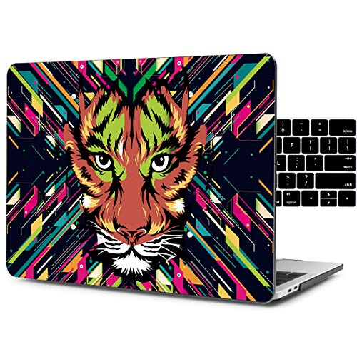 Tiger Macbook Laptops - Dongke Unique Design Crystal Hard Case for 13 inch MacBook Pro with/without Touch Bar Model:A1706/A1708 (2017 & 2016 Release) with Black Keyboard Cover (Watercolor tiger)