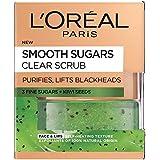 L'Oreal Paris Smooth Sugar Clear Kiwi Face and Lip Scrub, 50 ml