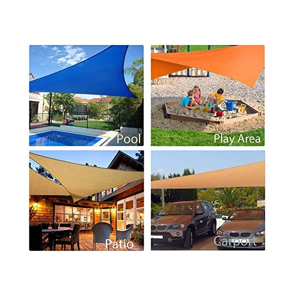 HEWYHAT Vela Telo Parasole Tenda Triangolare Ombreggiante in HDPE 3x3x3m Resistente Protezione UV 95% per Ombra Giardino Terrazzo con Aggancio Occhielli,Rust Red 5 spesavip
