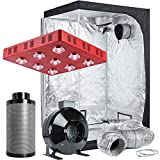 TopoLite Grow Tent Room Complete Kit Hydroponic Growing System LED 1800W Grow Light + 6'' Carbon Filter Combo + 48''x48''x80'' Dark Room (LED1800W+48''X48''X80''+6'' Filter Combo)
