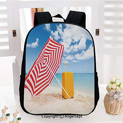 Kids School Backpack,Windy Sandy Beach with Sunshade and Trolley Summer Holiday Relax Picture Nursery Room Decorations Classic,Plain Bookbag Travel Daypack,Multicolor