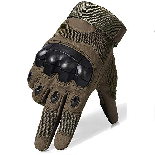 Fuyuanda Full Finger Outdoor Glove Touch Screen Men`s Tactical Cycling Hunting Climbing Sports Glove for Military Airsoft Paintball Pistol Riding Motorcycle Smart Phone Olive X-Large
