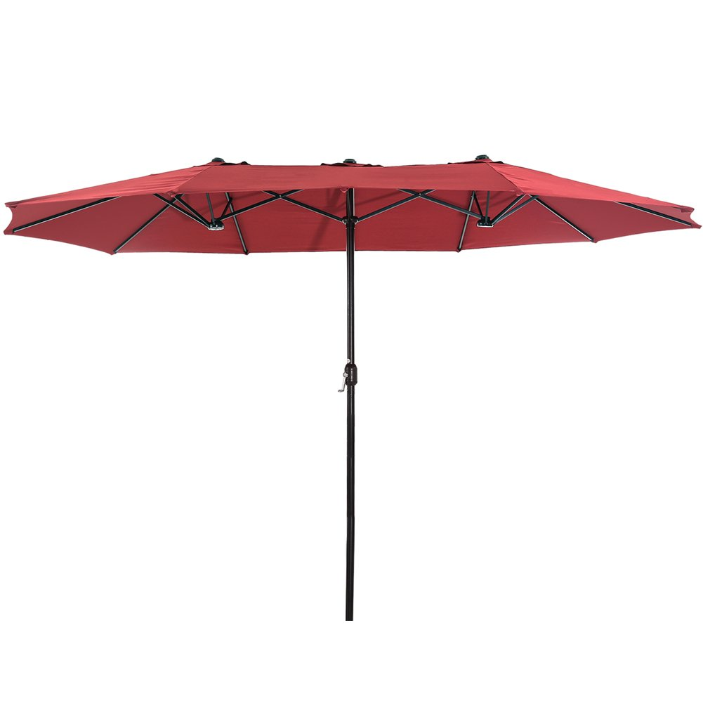SUPERJARE 14 Ft Outdoor Patio Umbrella, Extra Large Double-Sided Design with Crank, 100% Polyester Fabric - Burgundy