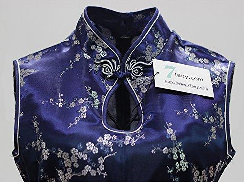 7Fairy Damen Marine Blau Cheongsam Chinesisch Kleid Blumen Lang Schlüsselloch