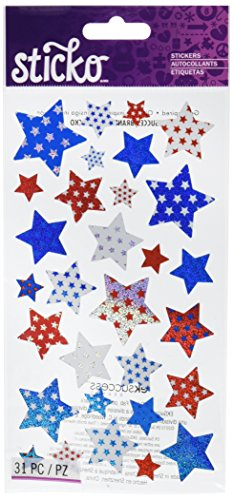 Sticko 434812 Stickers, Metallic Red, White & Blue Stars