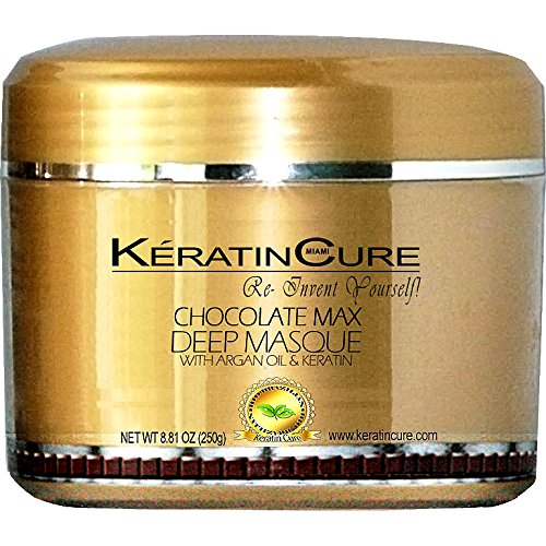 KERATIN CURE - Deep Hair Reparation Masque 250g /8.81 oz Chocolate Max with Argan Oil - Shea Butter Conditioning Moisturizing Hair Treatment