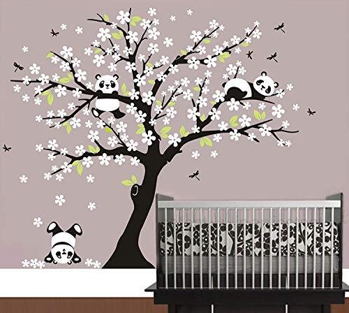 - LUCKKYY Three Playful Pandas Bear on Cherry Blossom Tree Wall Decal Tree Wall Sticker Nursery and Children's Room (White)