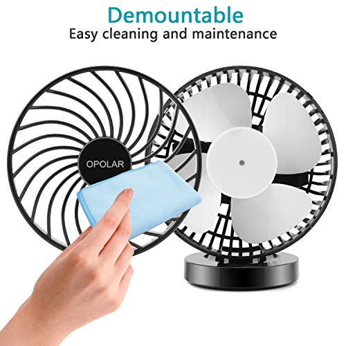 OPOLAR Battery Operated Fan, USB Rechargeable Personal Fan, Cordless Design, Powered by USB or 2200mAh Battery, Adjustable Wind, for Office, Car, Outdoor-Stepless Wind Speed by OPOLAR (Image #3)