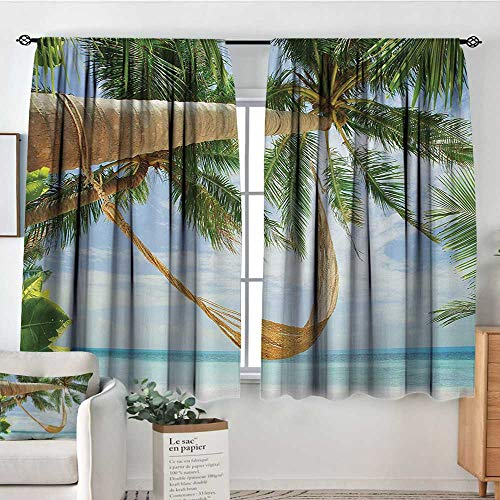 Beach Blackout Window Curtain View of Nice Hammock with Palms by The Ocean Sandy Shore Exotic Artsy Print Bedroom Blackout Curtains 63