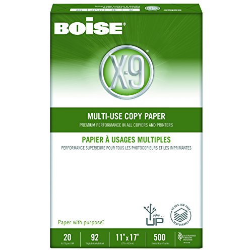 Boise OX9007 X-9 Multi-Use Copy Paper, 92 Bright, 20lb, 11 x 17, White (Case of 2500 Sheets)