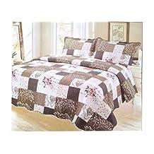 Pinsonic Plaid Bedding 3 Piece Bedspread Quilt Coverlet Set, Twin, Desert Stone