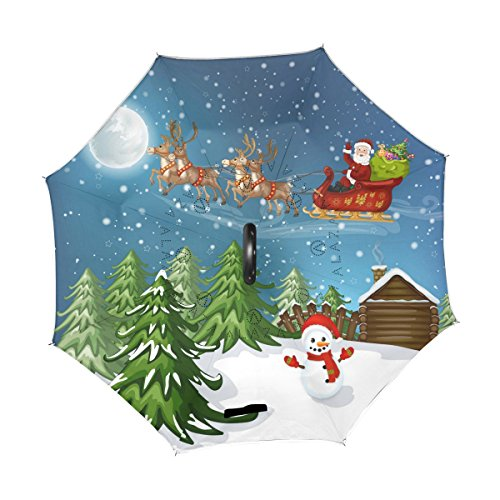 326d6c672828 ALAZA Christmas Moon Snow Night Santa with Reindeer Snowman Inverted ...