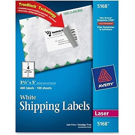 Amazon 5168 avery easy peel address label 350 width x 5 amazon 5168 avery easy peel address label 350 width x 5 length 400 box rectangle 4sheet laser inkjet white office products pronofoot35fo Gallery