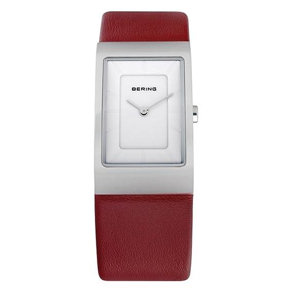 Bering Classic - Reloj analógico de mujer de cuarzo con correa de piel roja - sumergible a 50 metros: Amazon.es: Relojes