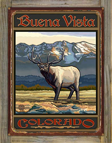 Northwest Art Mall Buena Vista Colorado Whistling Elk Rustic Metal Print on Reclaimed Barn Wood by Paul A. Lanquist (18