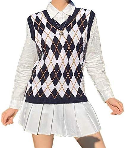 Argyle Sweater Vest Teen Girl Y2K Top Plaid Knitted Streetwear Preppy Style V Neck Long Knitwear School Tank Top Women