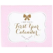 Carter's Pink and Gold Pattern First Year Calendar for Baby Girls, 11  L x 18  H, Includes Sticker Sheet