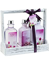 Bath and Body Gift Set ~ Spring Tulip Fragrance Aromatherapy Spa Basket, Me Time Gift For Her, Skin Hydrating Hand Cream, Relaxing Bath Salt, Zen Shower Gel, a Perfect Tulip Gift.