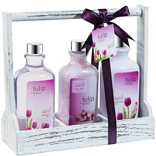 Bath and Body Gift Set ~ Spring Tulip Fragrance Aromatherapy Spa Basket, Me Time Gift For Her, Skin Hydrating Hand Cream, Relaxing Bath Salt, Zen Shower Gel, a Perfect Tulip Gift. (Relaxing Gift Spa Basket Lavender)