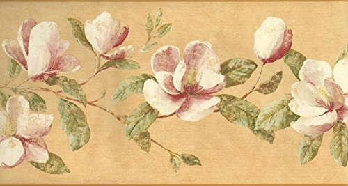 Wallpaper Border Magnolia Floral Trail on Tuscan Gold Bac...