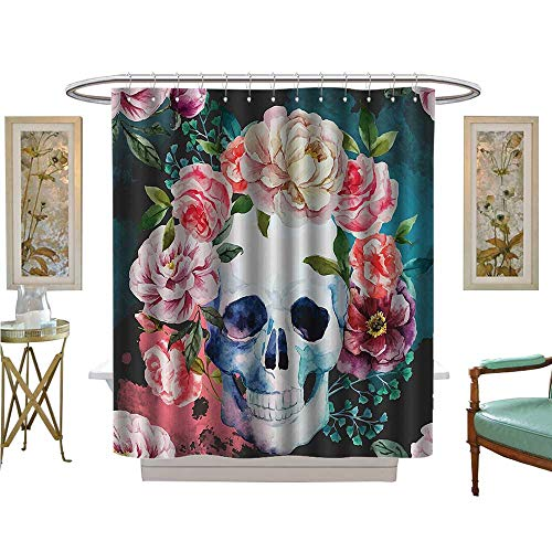Shower Curtains Fabric Flowers and Skull Skelets All Saints Halloween Bathroom Decor Set with Hooks -