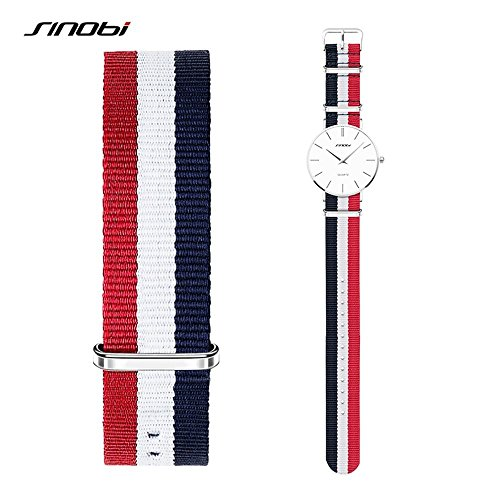 SINOBI Casual Men Nato Nylon Watch band, 20mm to 23mm Unisex Colorful Outdoor Sport Buckles Canvas Stripe Strap, Elastic Replaceable Women Watches Bands Multi-color (B C Titanium Mens Bands)