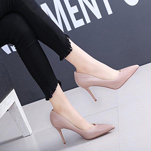 SFSYDDY Sexy Avec Une Amende Des Chaussures Une Petite Bouche Des Talons Hauts Des Chaussures En Cuir Et Des Chaussures La Profession Le Travail Trente - Quatre Brown 9CZ5By