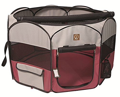 One for Pets Fabric Portable Indoor/Outdoor Pet Playpen, Large, Fuchsia/Grey 46″x46″x20.5″ by One for Pets