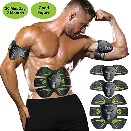 HOPOSO EMS Muscle Stimulator, ABS Trainer Ab Toner Belt Abdominal Exerciser Abs Stimulator Muscle Toner Stomach Toning Belt Six Pack Abs Pad Muscle Training for Men & Women