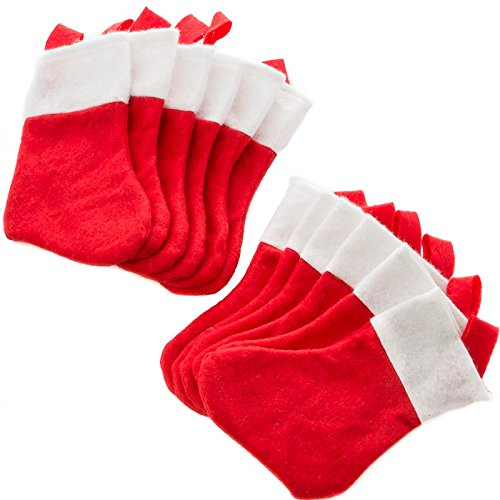 - Factory Direct Craft Package of 24 Small Red and White Felt Christmas Stockings