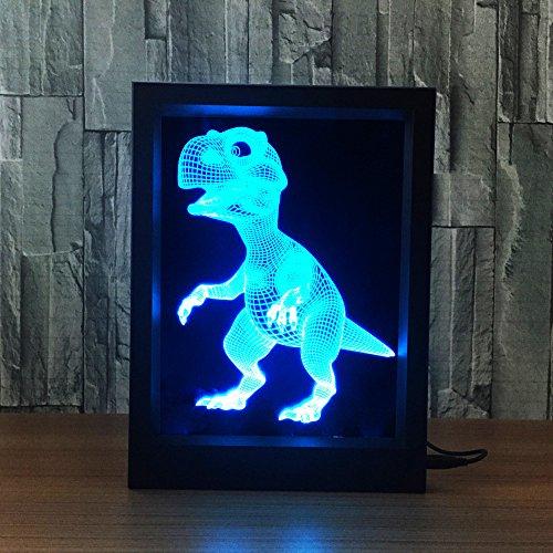 Photo Frame Sleeping Night Light Remote Control Multi Colors USB Desk Lamp (Baby Dinosaur) ()