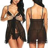 Chomoleza Women Open Cup Lingerie V Neck Babydoll Mesh Sleepwear Strap Chemise