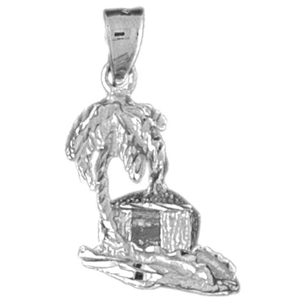 JewelsObsession - Colgante de oro blanco de 14 quilates, 25 mm, 3D, diseño de palmera y hut: Pendant Obsession: Amazon.es: Joyería