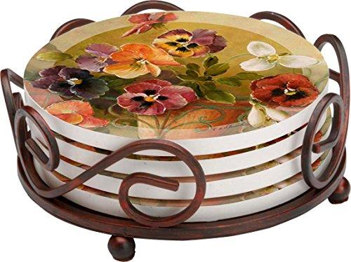 Thirstystone Stoneware Coaster Set, Gift Set, Pansies - HA60 ()
