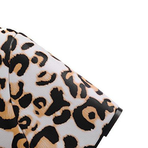 AllhqFashion Mujer Tacón Alto Colores Surtidos Sin cordones Material Suave Puntera Redonda De salón Amarillo